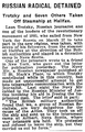 RUSSIAN RADICAL DETAINED Trotzky and Seven Others Taken Off Steamship at Halifax (NYT, 1917).png