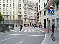 Raised, signalized crosswalk to center of traffic circle (18185616784).jpg