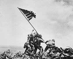 Raising the Flag on Iwo Jima, by Joe Rosenthal.jpg