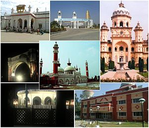 Center: Jama Masjid Rampur, Clockwise from top : Rampur Railway Station; Mohammad Ali Jauhar University; Rampur Raza Library; Aryabhatt Planetarium; Gandhi Samadhi; Bab e Nijaat.