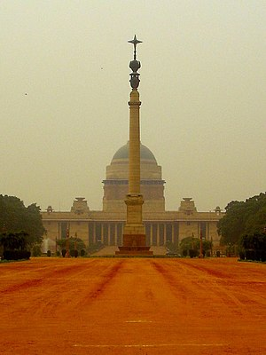 Lutyens' Delhi - View of Rashtrapati Bhavan with the Jaipur Column in the foreground, in Lutyens' Delhi.