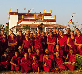 Some Of The Monks Outside The Temple At The Tibetan Buddhist Monastery,  Rato Dratsang, In India, January 2015