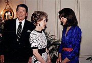 Former First Lady Jacqueline Kennedy Onassis in 1986 during a visit from the President and First Lady, Ronald and Nancy Reagan
