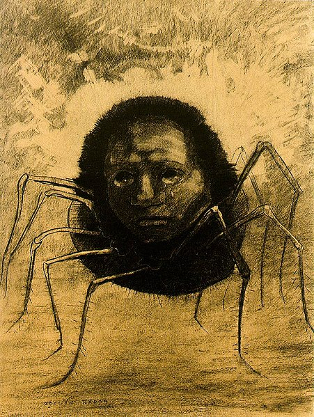 http://upload.wikimedia.org/wikipedia/commons/thumb/1/16/Redon_crying-spider.jpg/451px-Redon_crying-spider.jpg