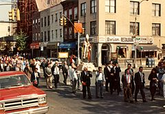 Religious procession at 50th Avenue, Hunters Point, Queens, NYC, 1989.jpg