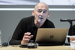 "Rem Koolhaas at the ""Rem Koolhaas and Irma Boom on Designing the 2014 Venice Biennale"" Lecture at Columbia GSAPP.jpg"