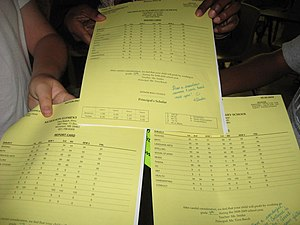 Students holding report cards.