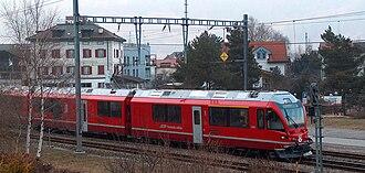 Bonaduz (Rhaetian Railway station) - ABe 8/12 ALLEGRA at Bonaduz station.