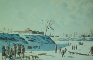 Fort Gibraltar - The fort at the confluence of the Red and Assiniboine rivers in 1821 by Peter Rindisbacher