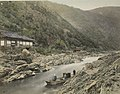 River boat in Kyoto in the 1800s, from- View of Rapids, at Kioto (3109860623) (cropped).jpg