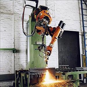 Articulated robot - Image: Robotics Cutting Bridge Building Parts