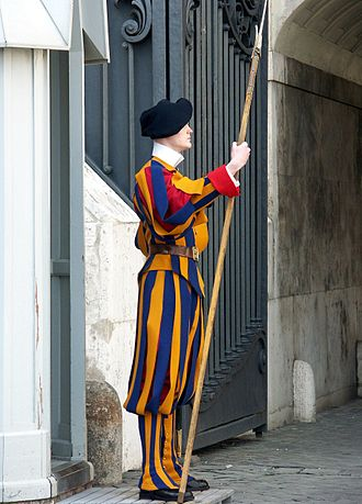 Pontifical Swiss Guard - A member of the Pontifical Swiss Guard with Halberd