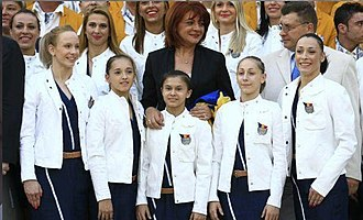 Larisa Iordache - Iordache (second from the left) with the 2012 Romanian Olympic team