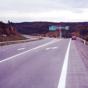 Newfoundland and Labrador Route 1 - Trans Canada Highway Route 1 at Corner Brook. This is a 4-lane section at this point in the highway's 903-kilometre length.