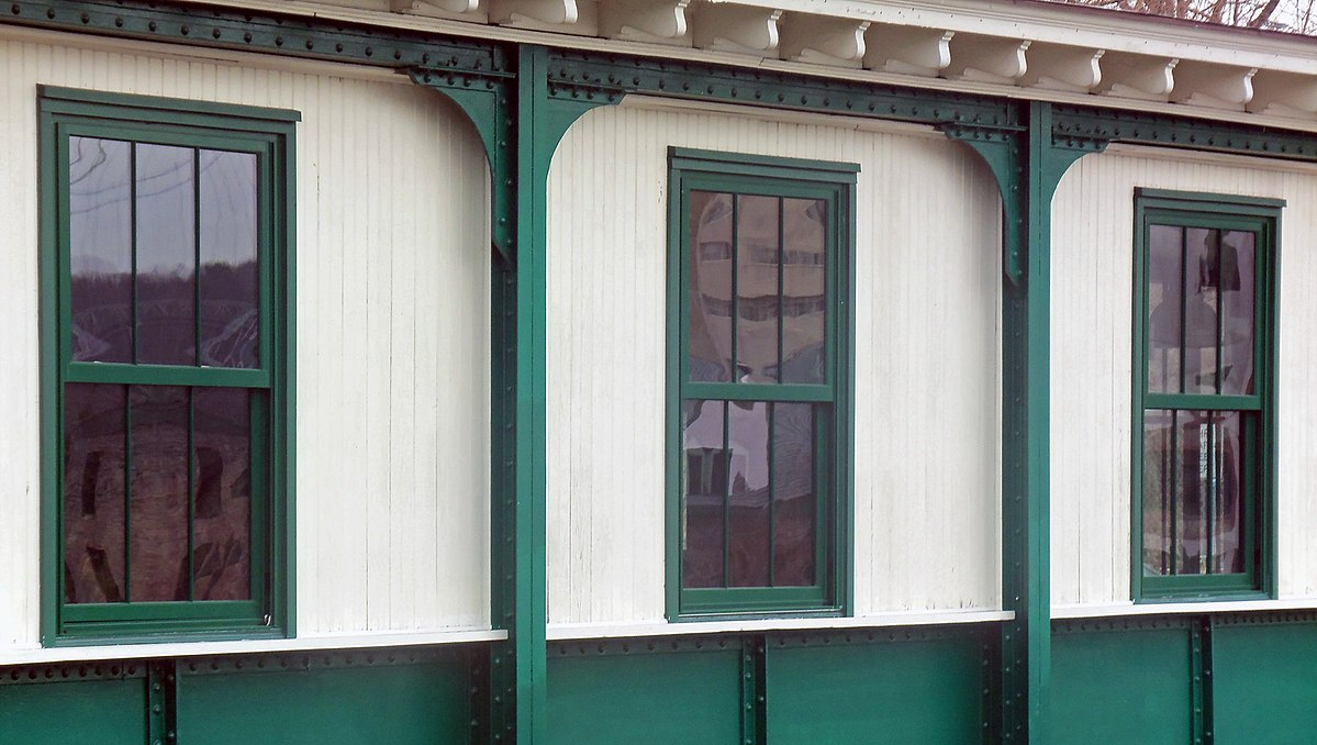 File Row Of Three Over Double Hung Sash Windows At