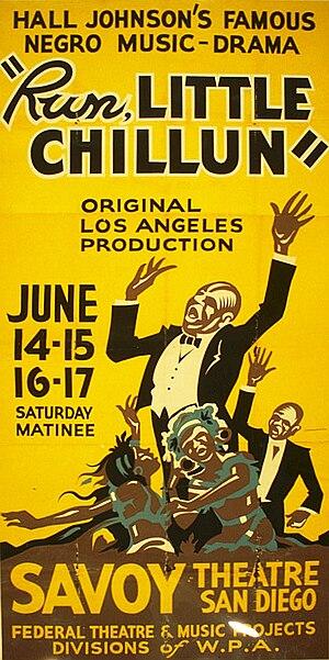 Hall Johnson - Poster for Hall Johnson's Run, Little Chillun at San Diego