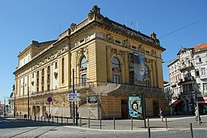 São João National Theatre - The common oblique view of the national theatre at the corner of Praça da Batalha and Rua de Augusto Rosa