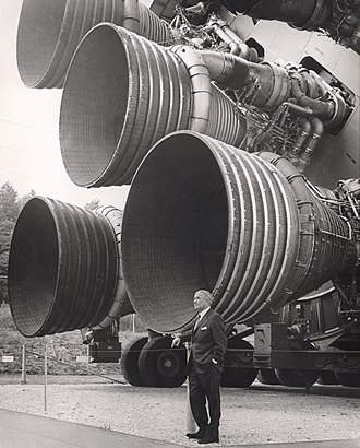 Aerospace engineering - Wernher von Braun, with the F-1 engines of the Saturn V first stage at the US Space and Rocket Center