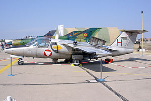 Saab 105 - Saab 105 (code H red) of Austrian Air Force as a static exhibit at Archangelos International Air show, Tanagra AFB-LGTG, Greece
