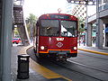 SD Trolley Blue line entering America Plaza station 1.JPG