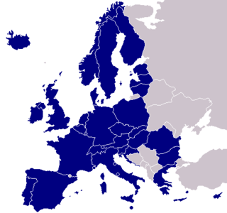 Map of Europe, with Single Euro Payments Area members in blue