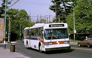 Trolleybuses in Philadelphia - SEPTA AM General trolley bus 893 on Frankford Avenue in 1987