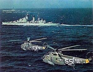 HNLMS De Zeven Provinciën (C802) - Image: SH 3As USS Essex De Zeven Provincien 1967