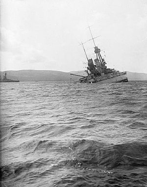 Scuttling of the German fleet in Scapa Flow - Image: SMS Bayern sinking