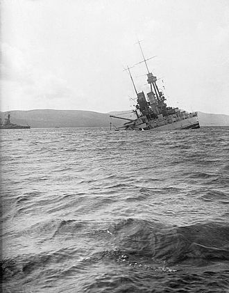 Scuttling of the German fleet at Scapa Flow - Bayern sinking by the stern