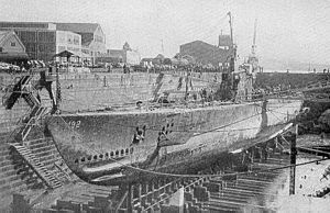 USS Sailfish (SS-192) - SS-192 in drydock after salvage.