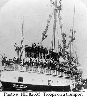 SS Valencia - Valencia, carrying members of the 1st North Dakota Volunteer Infantry of the United States Army during the Spanish–American War