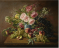 STILL LIFE WITH FLOWERS, PEACHES AND GRAPES.PNG