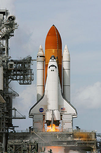 Space Shuttle Atlantis - Atlantis launching on the STS-122 mission to dock with the International Space Station in February 2008