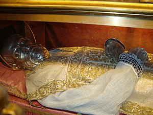 St. Philip Neri's image, on the saint's corpse...