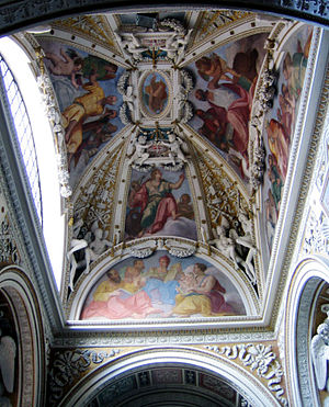 Giulio Mazzoni - The ceiling of the Theodoli chapel at the basilica of Santa Maria del Popolo in Rome, Italy, containing stuccoes by Giulio Mazzoni