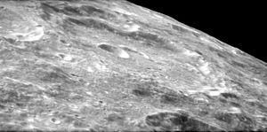 Saha (crater) - Obilque view of Saha from Apollo 17