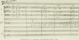Henry VIII (opera) - Fragment of the sheet music (as depicted in Saint-Saëns by Lucien Augé de Lassus