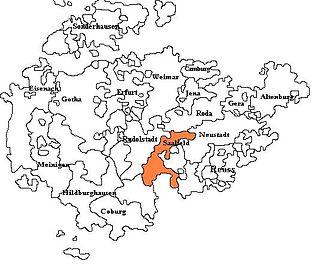 Saxe-Saalfeld - Saxe-Saafeld, shown within the other Ernestine duchies