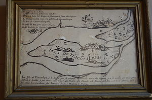 Tlacotalpan - Early colonial era map showing Tlacotalpan as an island at the Salvador Ferrando Museum