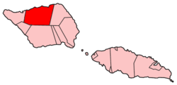 Map of Samoa showing Gagaifomauga district