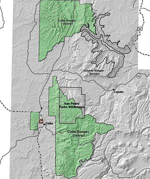 San Pedro Parks Wilderness - A map of the Cuba Ranger District of the Santa Fe National Forest showing the location of San Pedro Parks Wilderness.