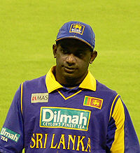 Sanatha Jayasuriya is seen wearing the Sri Lankan ODI cricket team's jersey