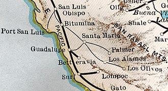 Santa Maria Valley Railroad - Route in 1931
