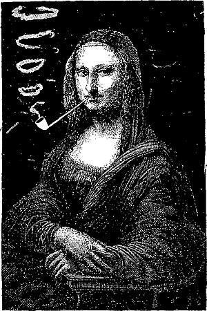 Mona Lisa replicas and reinterpretations - Le rire (The Laugh) by Sapeck (Eugène Bataille), 1883