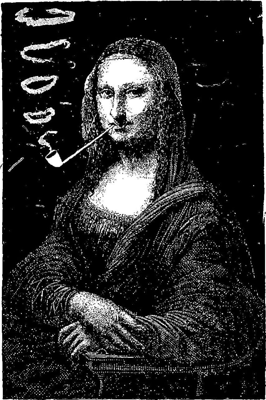 Sapeck-La Joconde fumant la pipe