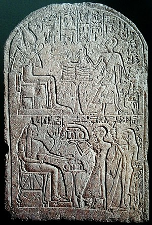 Lector priest - Stela of a lector priest (upper right), from Saqqara, 19th Dynasty.