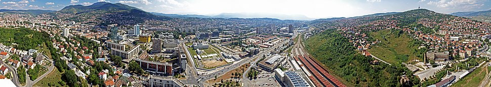 A panoramic view of Sarajevo from the 36th-floor observation deck of the Avaz Twist Tower, spring 2011