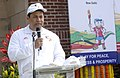 Sarbananda Sonowal addressing at lighting of the South Asian Games Torch and the flag off Torch Relay ceremony from National Stadium, in New Delhi on January 17, 2016.jpg