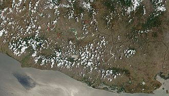 Outline of El Salvador - An enlargeable satellite image of El Salvador