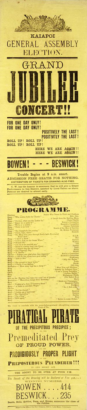 Charles Bowen (New Zealand politician) - Satirical political poster printed for the Kaiapoi 1875 general election